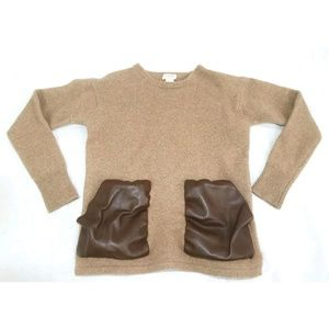 J. Crew 100% Wool Sweater Faux Leather Pockets